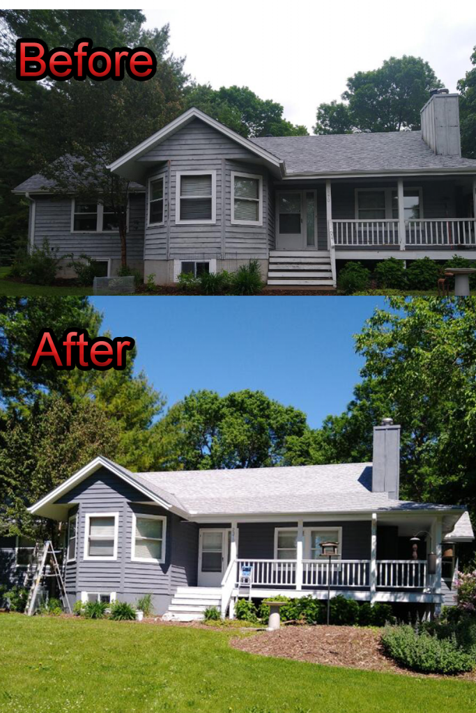 Exterior painting before and after photo