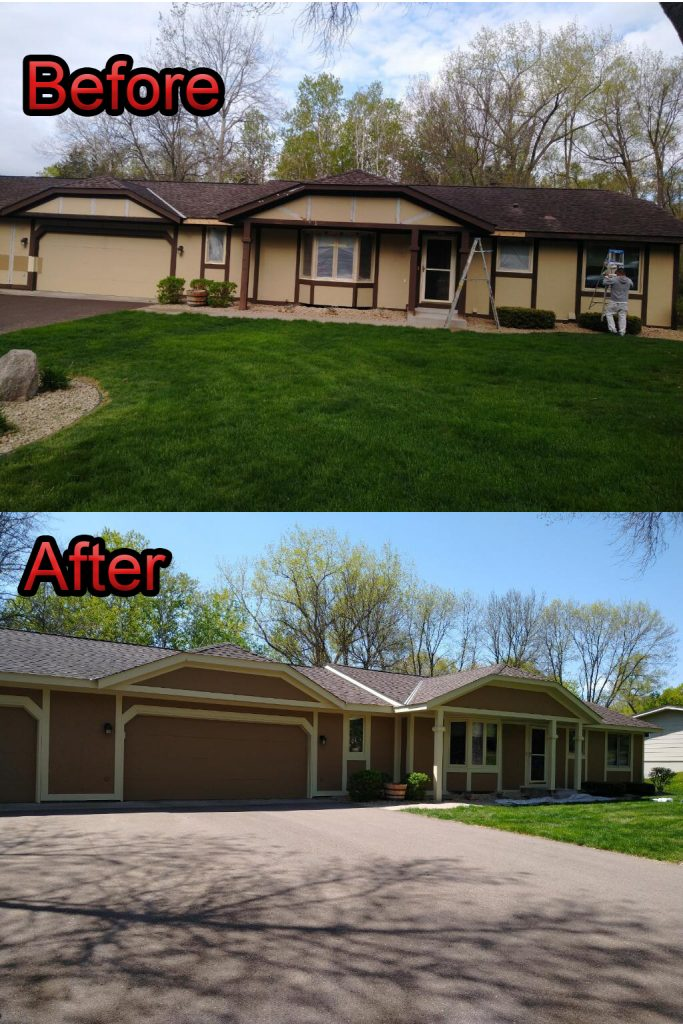 Before and after photo of paint job from the front of the house