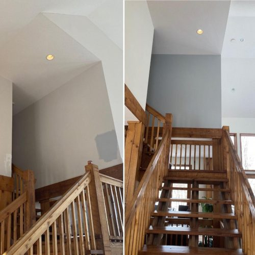 before and after stairway paint job